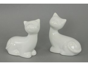 Kočička keramická bílá ,dekorační, cena za dva kusy