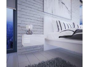 Noční stolek MATURIN bílá/bílá lesk