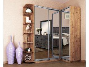 Šatní skříň rohová LEVANTO 180x120 kraft zlatý/zrcadlo