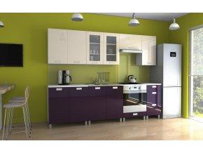 Kuchyňská linka Parkour KRF 260 jasmín/fialový lesk