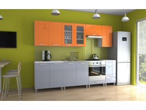 Kuchyňská linka Parkour MDR 260 oranžový/šedý lesk