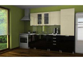 Kuchyňská linka Simeon RLG 240 vanilka/černý lesk