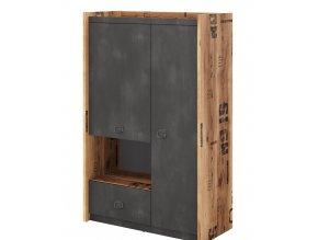Skříň 2-dveřová DRAKE 04 smrk/steel
