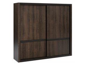 Šatní skříň s posuv. dveřmi EMERSON 02 charlestone tabák/černá