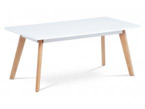 Konferenční stolek 110x55 cm, bílá matná MDF, masiv buk