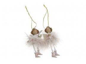 Andělíček, vánoční dekorace na pověšení, mix 2 druhů, cena za 1 kus, barva růžová