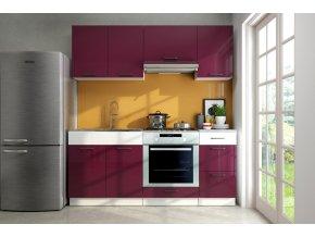 Kuchyňská linka Lars 180 fialový lesk/bílý pruh