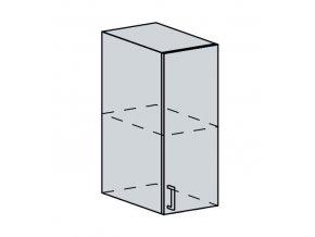 30H h. skříňka 1-dveřová VALERIA bk/bílá lesk
