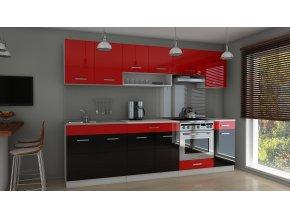 Kuchyňská linka Carrie 260 červený/černý lesk