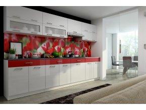 Kuchyňská linka Karen 300 bílý lesk/červený pruh