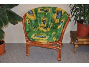 Ratanové křeslo Bahama barva koňak polstr zelený MAXI