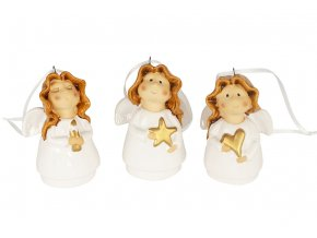 Andělíček, keramická dekorace, mix 3 druhů, cena za 1 kus