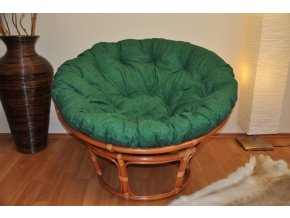 Ratanový papasan 115 cm koňak - polstr tmavě zelený melír