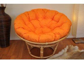 Ratanový papasan 115 cm medový - polstr oranžový melír