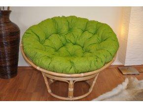 Ratanový papasan 115 cm medový - polstr světle zelený melír