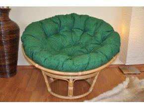 Ratanový papasan 115 cm medový - polstr tmavě zelený melír