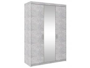 Šatní skříň ELINA 3D beton jasný/zrcadlo