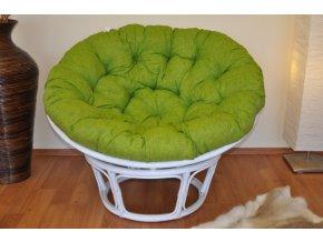 Ratanový papasan 115 cm bílý - polstr světle zelený melír