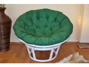 Ratanový papasan 115 cm bílý - polstr tmavě zelený melír