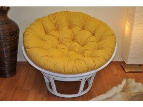 Ratanový papasan 110 cm bílý polstr žlutý melír
