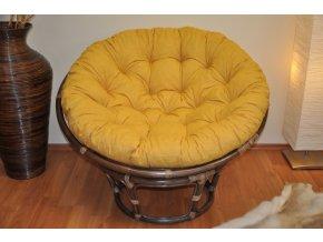 Ratanový papasan 110 cm hnědý polstr žlutý melír
