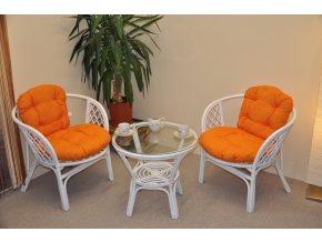 Ratanová sedací souprava Bahama bílá 2+1, polstry oranžový melír