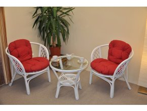 Ratanová sedací souprava Bahama bílá 2+1, polstry vínový melír