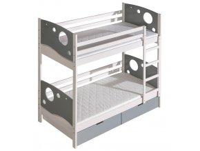 Dětská postel KEWIN poschoďová bílá/popel