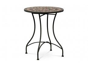 Zahradní stůl, deska z keramické mozaiky, kovová konstrukce, černý matný lak (typově k židli JF2226 a lavici JF2227)