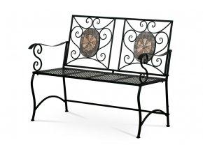Zahradní lavice, keramická mozaika, kovová kontrukce, černý matný lak (typově ke
