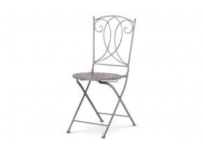 Zahradní židle, keramická mozaika, kovová konstrukce, šedý lak Antik (typově ke stolu JF2228 a lavici JF2230)