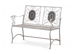 Zahradní lavice, keramická mozaika, kovová konstrukce, šedý matný lak Antik (typově ke stolu JF2228 a židli JF2229)