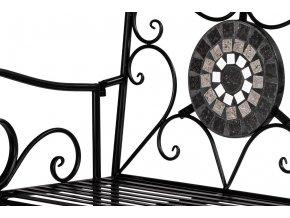 Lavice kovová s mozaikou. Černý lak.