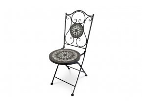 Zahradní židle, kermická mozaika, kovová konstrukce, černý matný lak (typově ke stolu US1006 a lavici US1005)