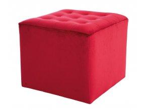 Taburet LORI velvet červená bordó