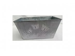 Truhlík na květiny, kovový, barva šedivá.