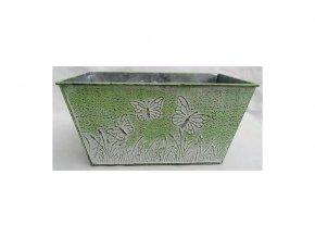 Truhlík na květiny, kovový, barva zelená.