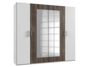 Šatní skříň 4-dveřová MIRABEL 750 bílá/dub bahenní