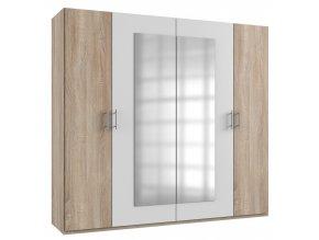 Šatní skříň 4-dveřová MIRABEL 750 dub/bílá