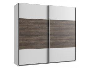 Šatní skříň s posuv. dveřmi MIRABEL 864 bílá/dub bahenní