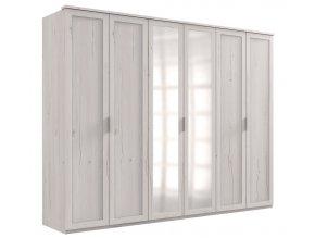 Šatní skříň 6-dveřová MARGITA 567 dub bílý