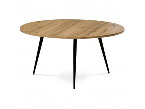 Konferenční stolek, MDF, dekor divoký dub, kov, černý lak