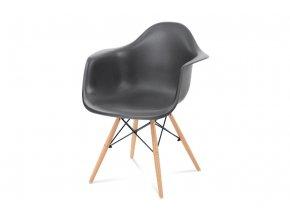 Jídelní židle, tmavě šedý plast, masiv buk, přírodní odstín, černé kovové výztuhy