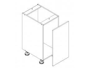 D40 skříňka spodní s košem s PD ARMOY bílá lesk
