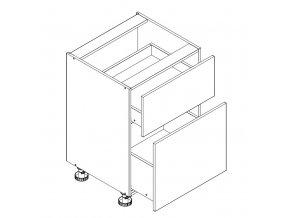 D60S/2 skříňka spodní s PD ARMOY bílá lesk