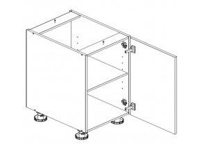 D60ZL P/L skříňka spodní s PD ARMOY bílá lesk