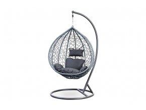 Zahradní závěsné křeslo velké, výplet šedý umělý ratan, potah šedá látka, kovová konstrukce, šedý kladívkový lak