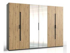 Šatní skříň 6-dveřová KOLOMAN 527 dub artisan/grafit