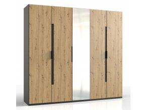Šatní skříň 5-dveřová KOLOMAN 528 dub artisan/grafit