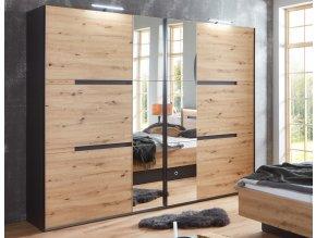 Šatní skříň s posuv. dveřmi KOLOMAN 842 dub artisan/grafit